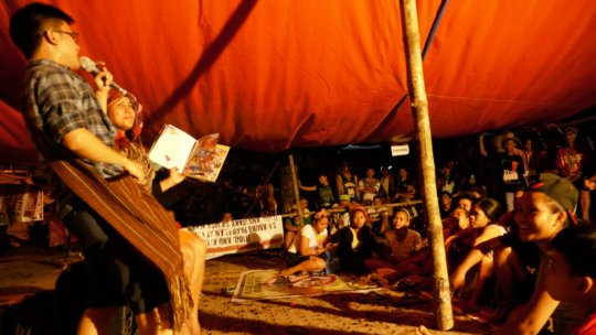 A storytelling session for the children