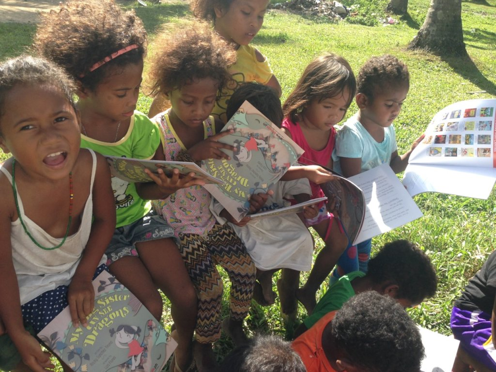 The children with their new books