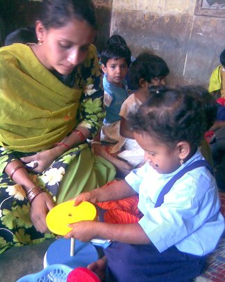 A mother helping in child assessment