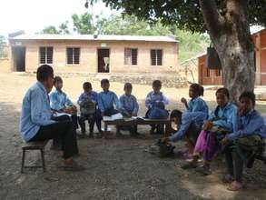 Class under the tree in Tharu speaking area