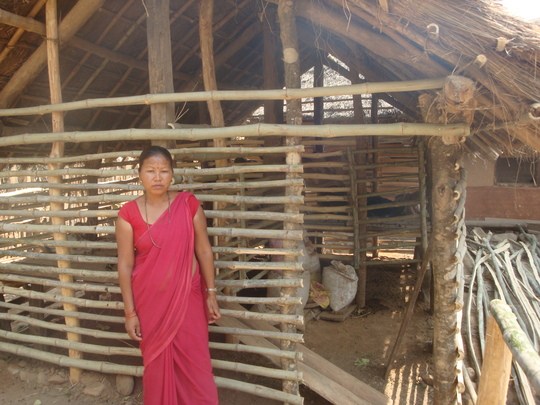Neera in front of her New Goat Shed