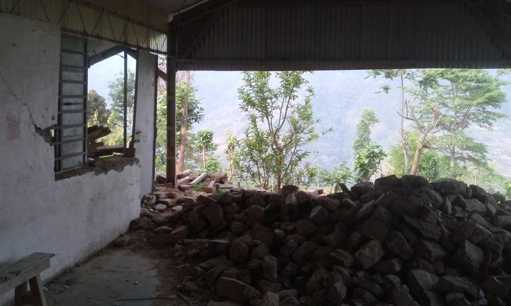 Damaged classroom in Limbu speaking area