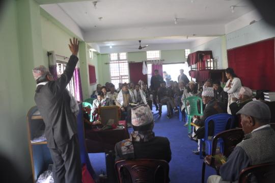 Limbu IK holder addressing with his literature