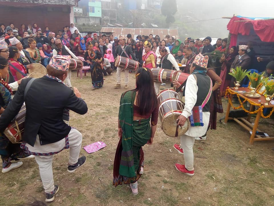 Demonstrating Limbu Cultural Dance in the event