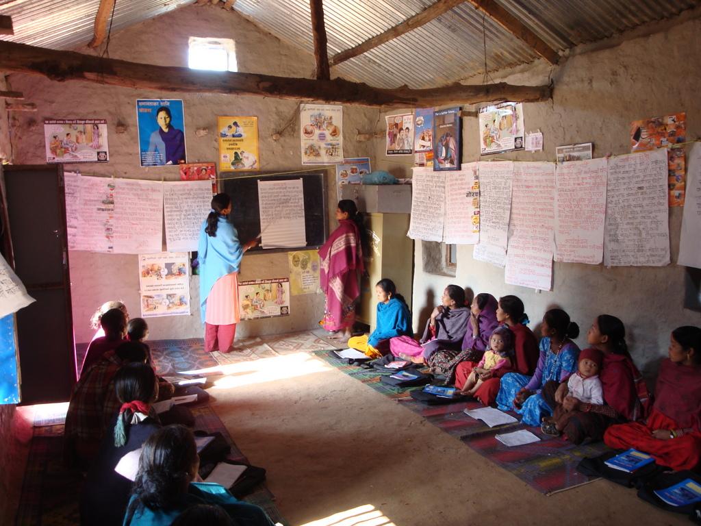 Tharu language literacy class