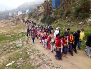 Participants are in rally from the village