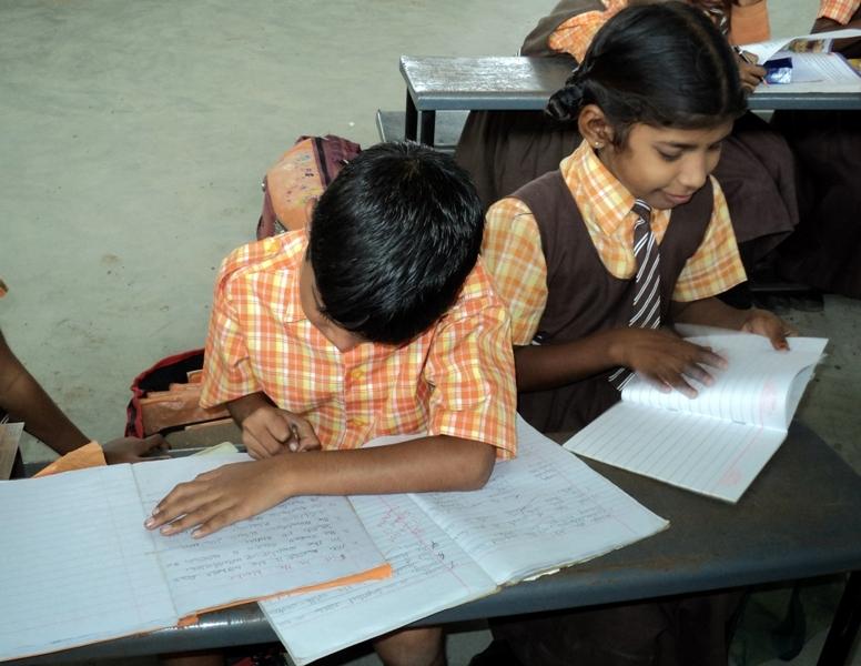 Children preparing for the final examination