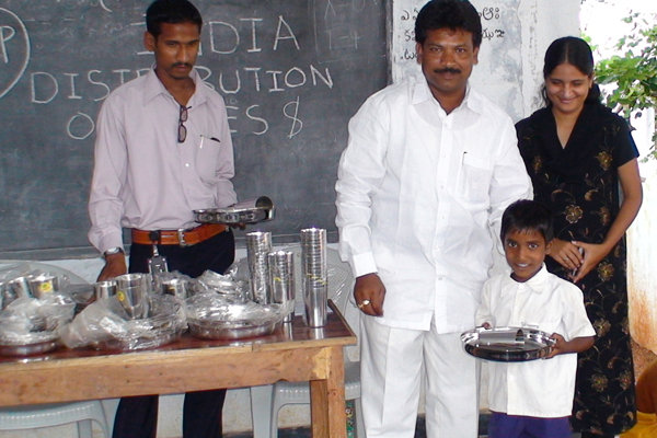 Local Officials Distributed Plates and Glasses