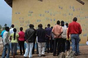 A crowd admiring the Dream Wall