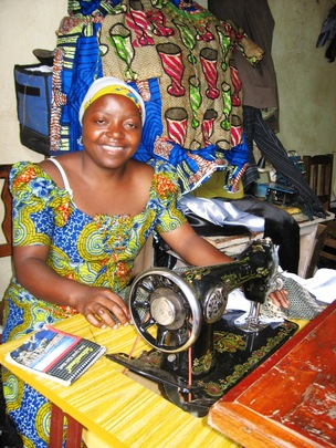 Mamie Sikuli, inside her tailorng shop in Butembo