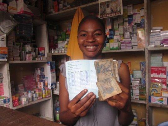 Noelle Bangu, a shop assistant and client of PMI