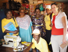 Board officer Julia Smith with staff and clients