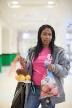 Woman receiving donations at Harvest Share