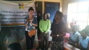 UYSTO director&Rebecca D/headteacher giving speech