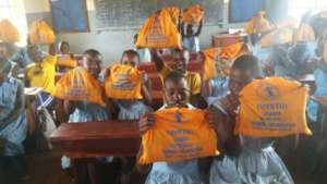Pupils showing up sanitary pad kits with in, pads