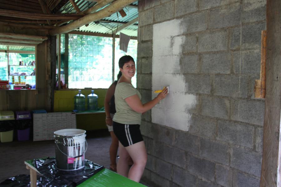 Volunteers decorating the new camp