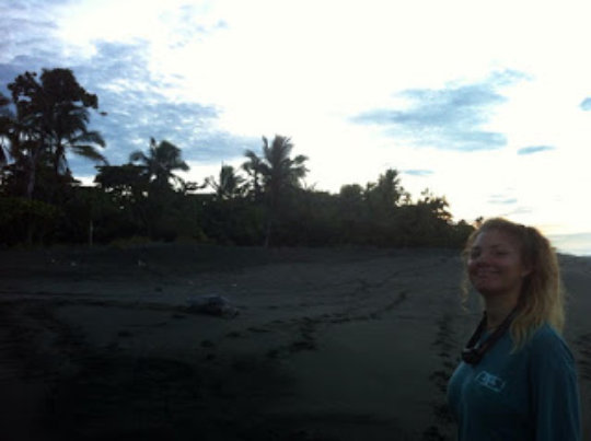A volunteer with an Olive Ridley turtle at sunrise