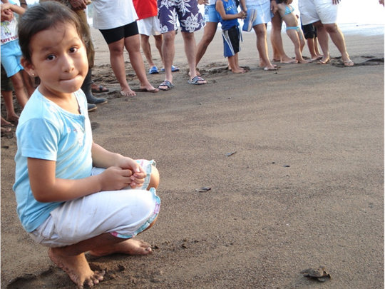 A local girl releasing hatchlings