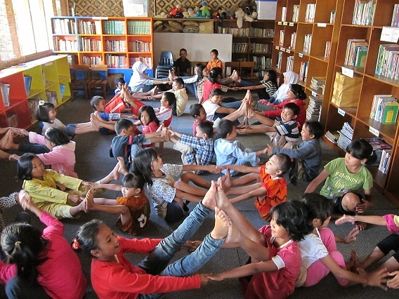 The children practice yoga during the CERES Camp