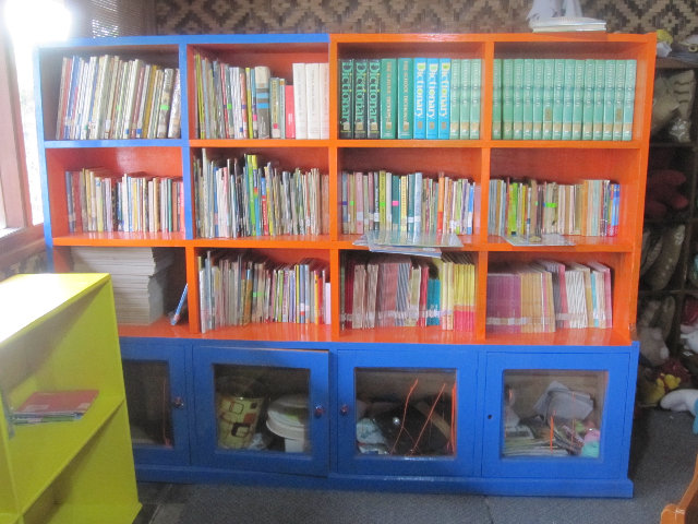 Colorful bookshelves to brighten up our library
