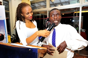 Blind student gives thanks to the guests.