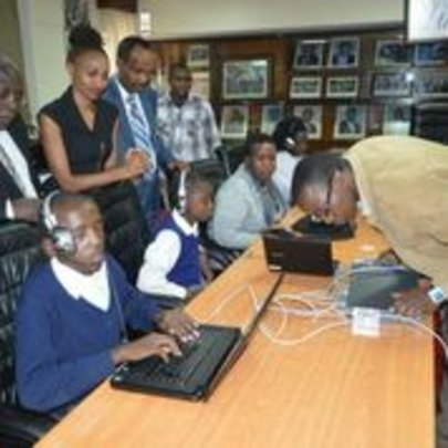 Blind students at KNEC