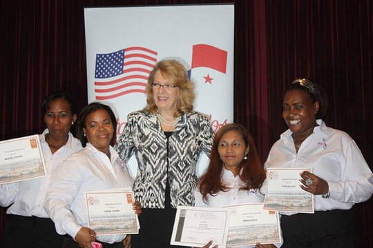 With American Ambassador Phyllis Powers.