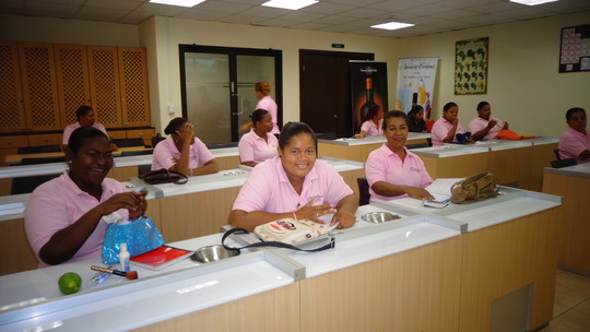 In her practice at the Intl. Hotel School (middle)