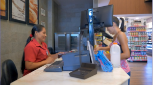 Mildonia as a cashier