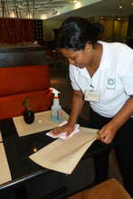 Marigel learning to clean tables @ the Restaurant
