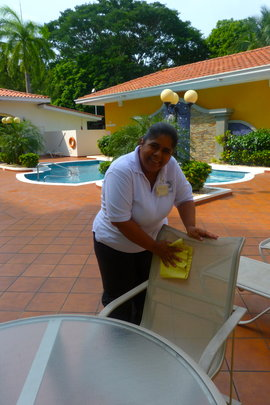 Odalis cleaning Pool Chairs!
