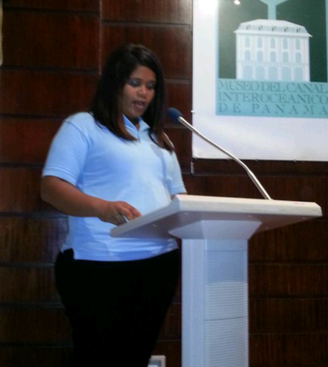 Giving her testimony as the group