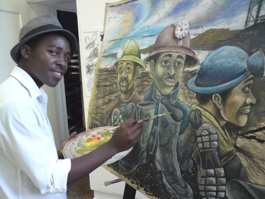 Simphiwe and his work in progress