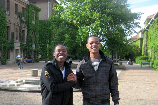 Simphiwe (left) and his roommate on the UCT campus