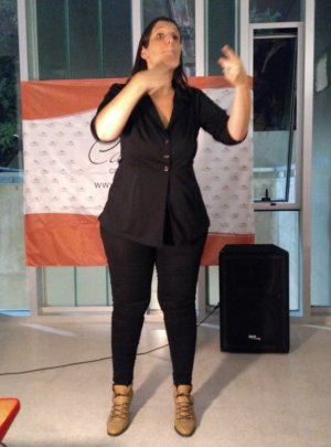 Sign language interpreter at the book presentation