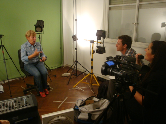 TV Channel interviews one of the deaf grandmothers