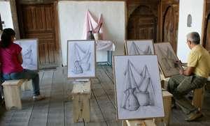 First drawing class held on Skenduli balcony