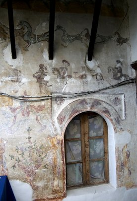 Decorative painting at Kikino house deteriorating