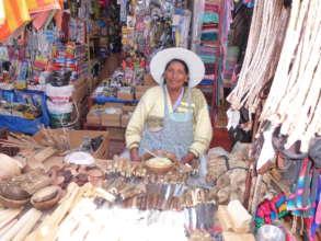 Bolivian woman at roadside market