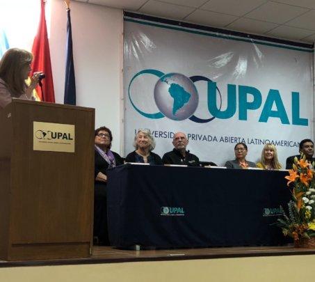 Speaker at Bolivian Univ. ceremony with S. Kemper
