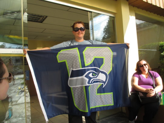 Katie with Seahawk flag gift