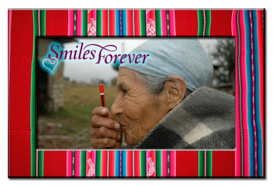 Old Bolivian lady with modern pen