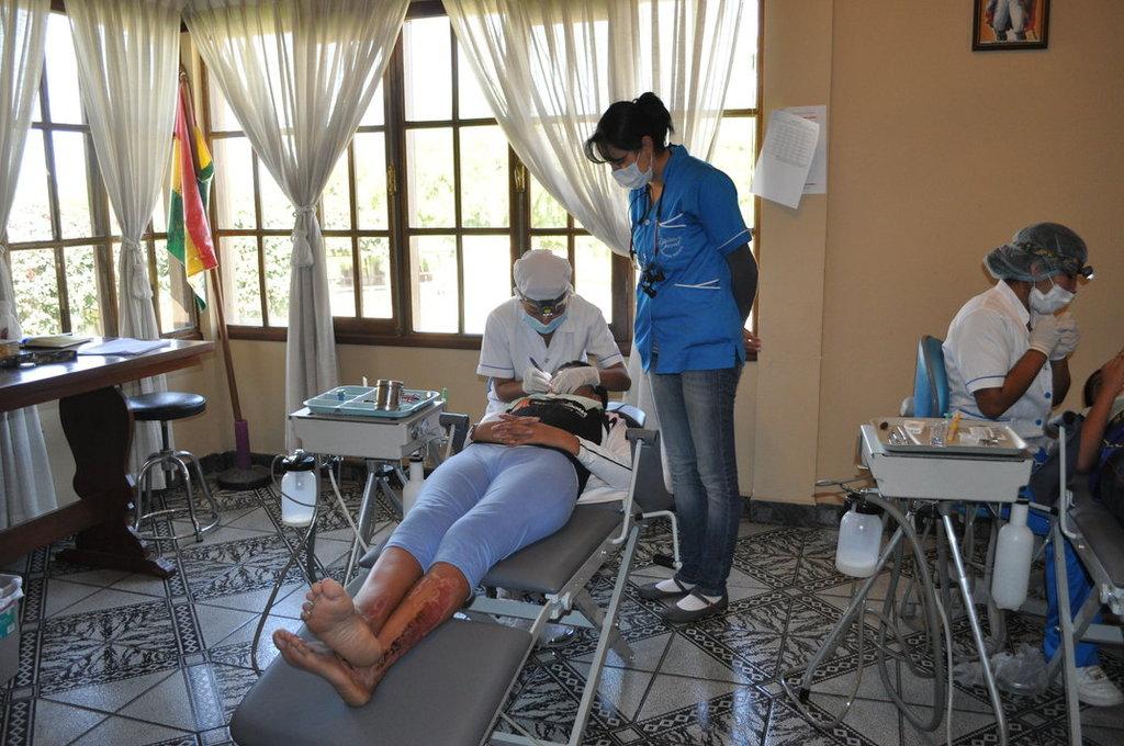 Portable dental equipment set up at Center