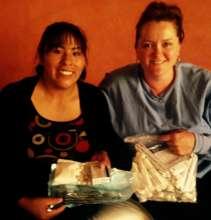 Dental University student Sonja receiving supplies