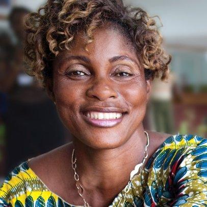 Annie Nyangomba at the bank