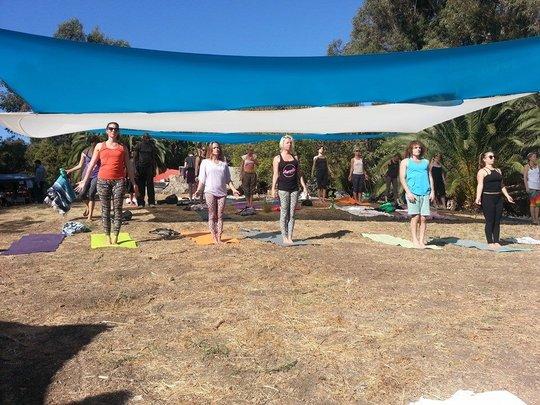 Teaching Yoga at Fair
