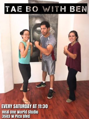 Miinkay and Daniela with Taebo Instructor Ben