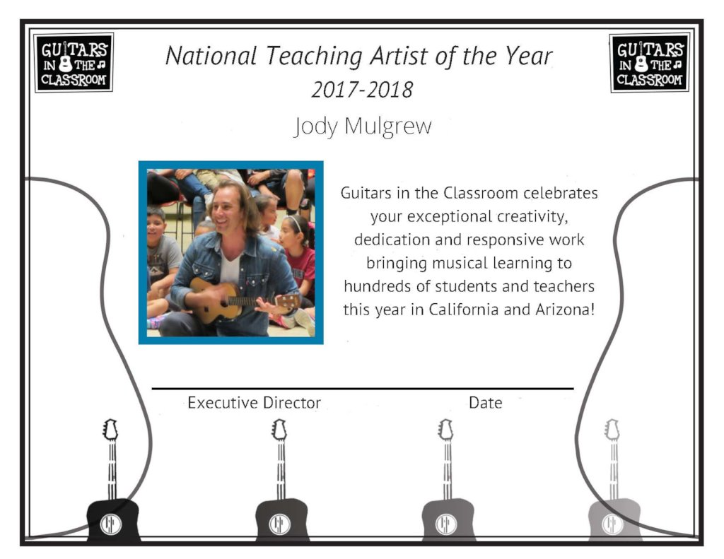 Jody Mulgrew, National Teaching Artist of the Year