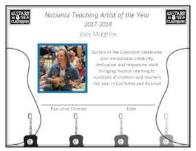 Jody Mulgrew, National Teaching Artist of the Year