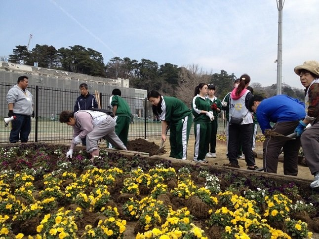 Students replant flowers in front of their school.